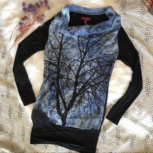 Ted Baker Silk Cowl Top Sky Tree Illustration XS